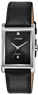 Citizen Quartz Mens Black Leather Strap Watch-Bh3001-14h Family