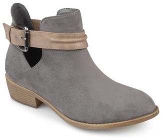 Brinley Co. Women's Faux Suede Stacked Heel Two-tone Booties