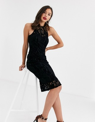 Paper Dolls high neck velvet lace midi dress in black