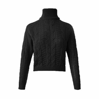 Rikay Women Jumper Rikay Womens Turtleneck Long Sleeve Crop Jumper Chunky Knit Ribbed Sweater Knitwear Crop Tops 4 Colors Size 8-14 UK Black