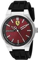 Ferrari Scuderia Men's Quartz Stainless Steel and Silicone Casual Watch, Color:Black (Model: 830353)