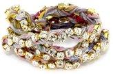 "Ettika Vintage Ribbon"" Gold Rhinestone Rainbow Wrap Tennis Bracelet"