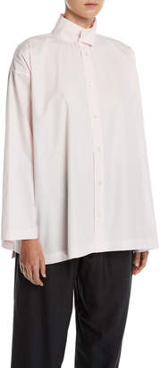 eskandar Slim A-Line Two-Collar Button-Front Shirt w/ Step-Hem
