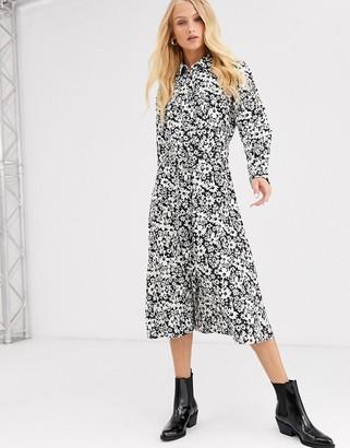 Only monochrome floral shirt midi dress-Multi