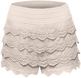 Hot From Hollywood Women's Elastic Waist Tiered Crochet Lace Scallop Hem Casual Mini Shorts