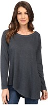 Lanston Asymmetrical Boyfriend Long Sleeve Top