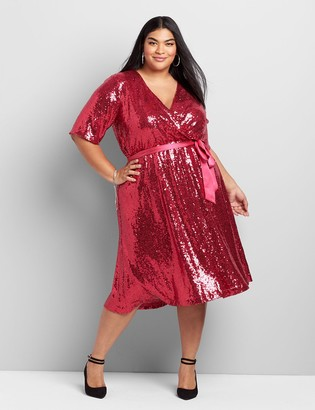 Lane Bryant Crossover Sequin Fit & Flare Dress