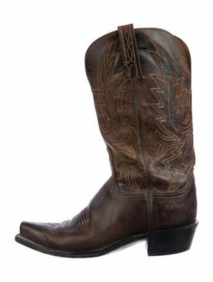 Lucchese Leather Embroidered Accent Western Boots Brown
