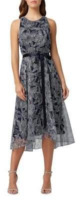 Tahari Arthur S. Levine Metallic Embroidered A-Line Dress