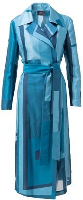 Akris Window-Print Cotton & Silk Trench Coat