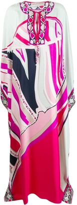 Emilio Pucci Graphic-Print Silk Evening Dress