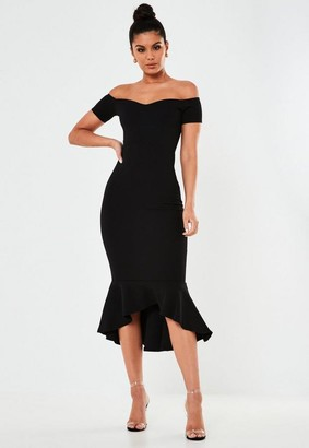 Missguided Black Bardot Fishtail Bodycon Midi Dress