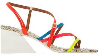 Mercedes Castillo Kelise Neon Snakeskin-Embossed Leather Sandals