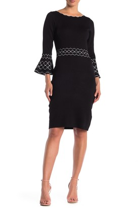 Gabby Skye 3/4 Bell Sleeve Sheath Dress