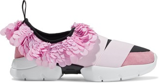 Emilio Pucci Sequined Satin, Suede And Neoprene Slip-on Sneakers