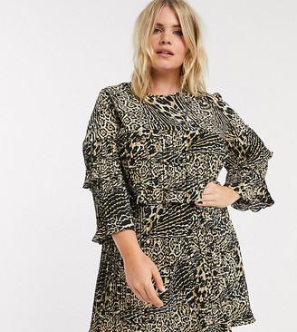 Simply Be pleated smock dress in leopard print