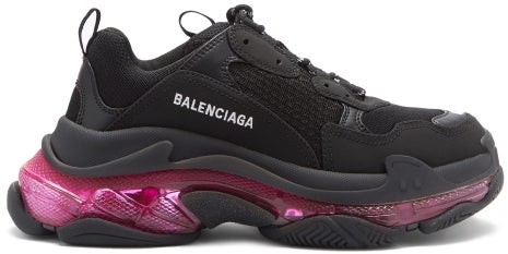 Balenciaga Triple S Leather And Mesh Trainers - Black Pink