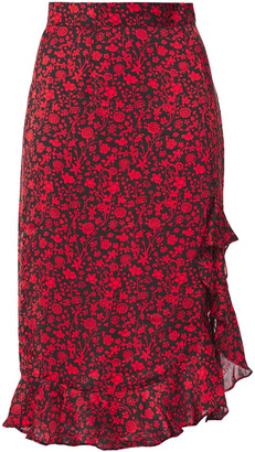 Maje Ruffled Floral-print Satin Skirt