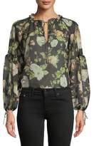 Alice + Olivia Julius Floral Silk Blouson-Sleeve Tunic Top