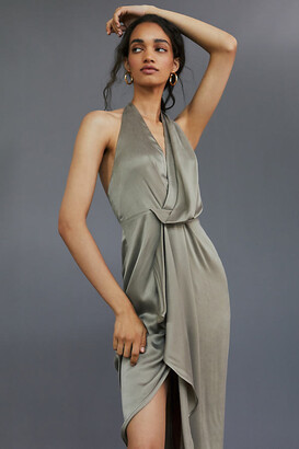 Significant Other Draped Halter Maxi Dress By in Beige Size 6