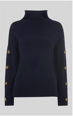 Whistles Button Sleeve Funnel Neck Knit