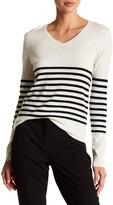 Kier & J Striped V-Neck Cashmere Sweater