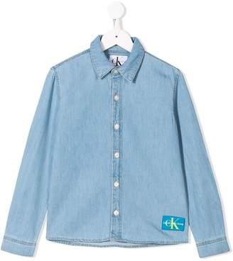 Calvin Klein Kids logo denim shirt