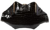 Alexander McQueen De Manta Croc Embossed Leather Clutch
