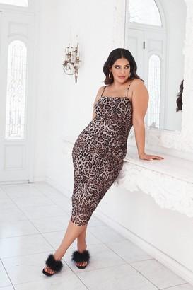 Nasty Gal Womens Don't Tail a Soul Plus Leopard Dress - Brown - 28