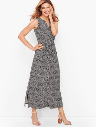 Talbots Medallion Print Jersey Maxi Shirtdress