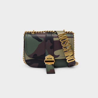 Moschino Shoulder Bag In Khaki Printed Leather