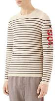 Gucci Men's Striped Wool Crewneck Sweater with Snake