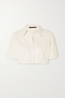 ZEYNEP ARCAY Cropped Leather Shirt - White