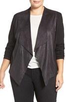 Tart Plus Size Women's 'Shanan' Faux Leather & Knit Drape Front Jacket