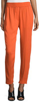 3.1 Phillip Lim Smocked Straight-Leg Cropped Pants, Lava