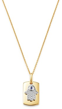 Bloomingdale's Blue Sapphire & Diamond Hamsa Hand Dog Tag Pendant Necklace in 14K Yellow Gold, 18 - 100% Exclusive
