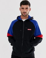 Levi's small batwing logo cut & sew color block full zip hoodie in black/blue/red