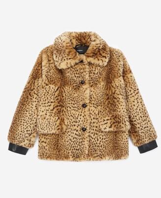 The Kooples Faux fur coat with leopard print