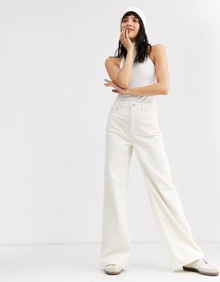 Weekday flared corduroy pants in white