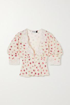 Rixo Amanda Cropped Lace-trimmed Floral-print Crepe De Chine Blouse - White