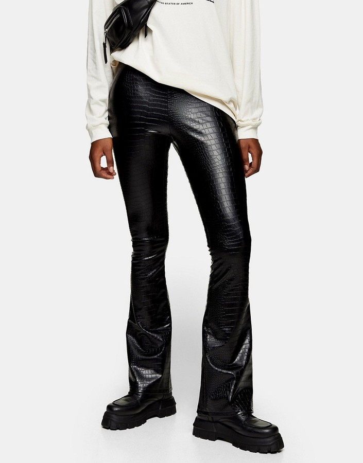 Topshop faux leather flared pants in black croc print