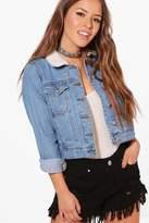 boohoo Petite Jasmin Borg Collar Denim Jacket blue