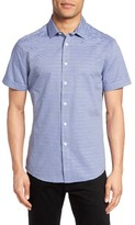 Vince Camuto Men's Trim Fit Dobby Stripe Sport Shirt