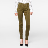 Paul Smith Women's Khaki Brushed Denim High-Waisted Skinny Jeans