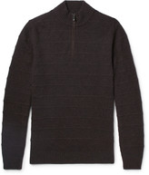 Ermenegildo Zegna - Nubuck-trimmed Striped Cashmere Half-zip Sweater