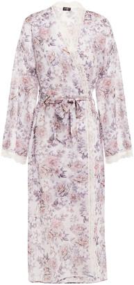 Cosabella Eleganza Lace-trimmed Floral-print Chiffon Robe