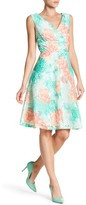 Sandra Darren Surplice Neck Floral Dyed Fit-and-Flare Dress