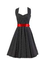 Ensnovo Womens Vintage 50s Style Halter Lace Up Polka Dot Rockabilly Dress Pink 1X