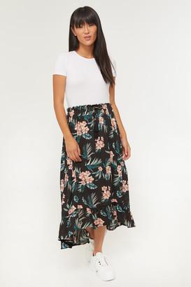 Ardene Tropical Floral Ruffled Midi Skirt