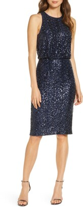 Eliza J Sequin Sleeveless Cocktail Dress